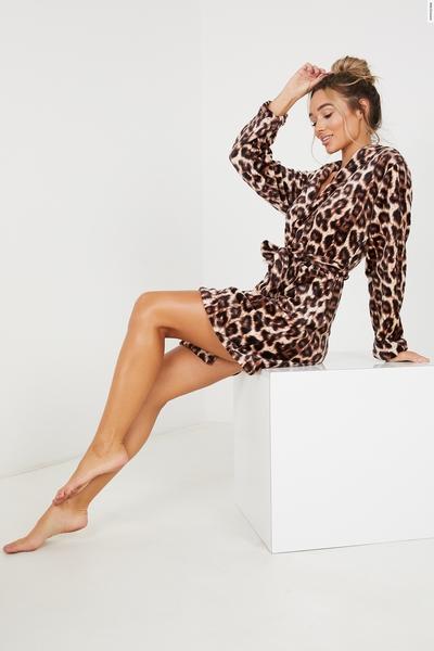 Brown Leopard Print Fluffy Robe